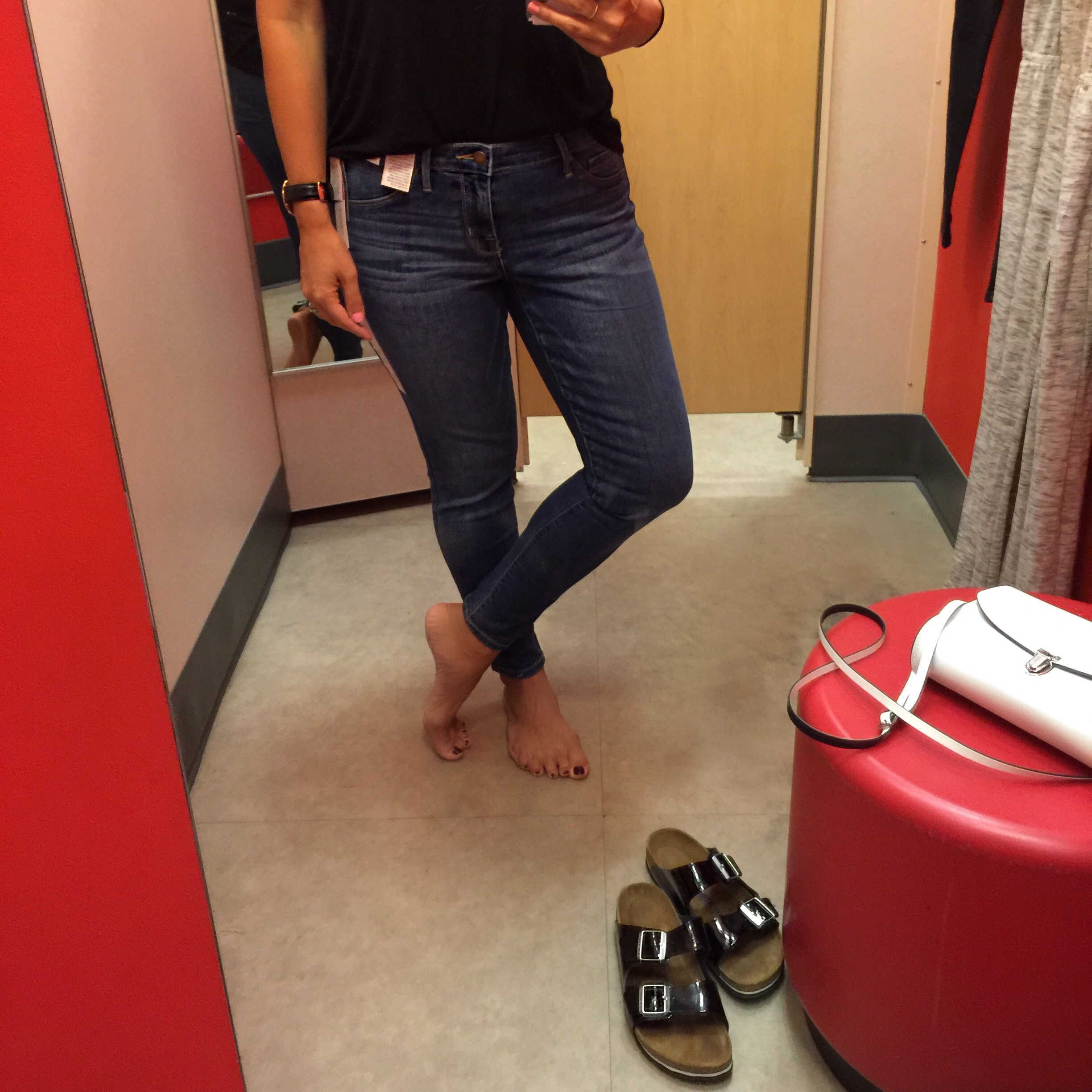 Mossimo Mid-Rise Jegging  (I am wearing the short inseam for an ankle look) Medium blue wash.