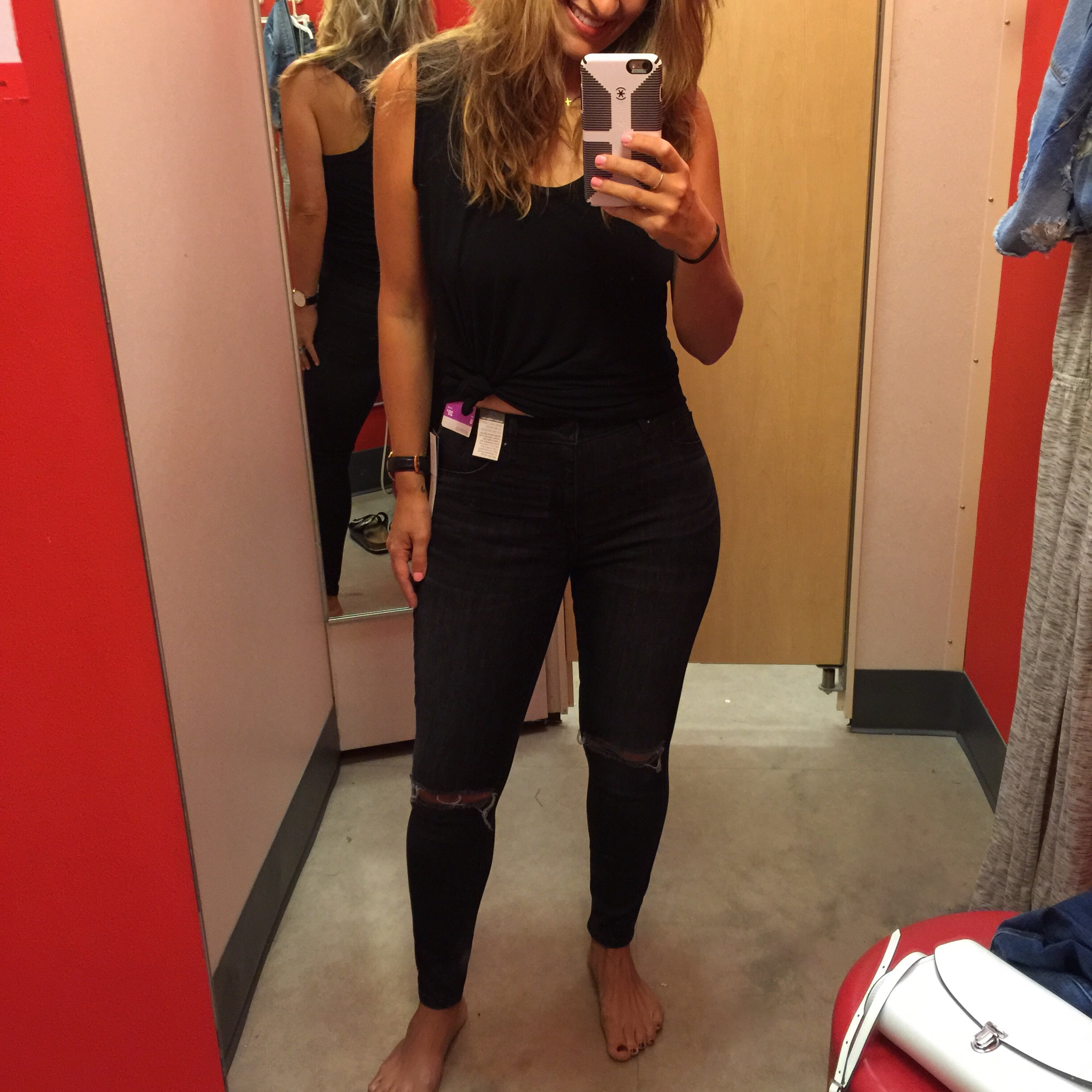 """Mossimo faded black high rise jeggings  with distressing(again, I am in a 28"""" short inseam)"""