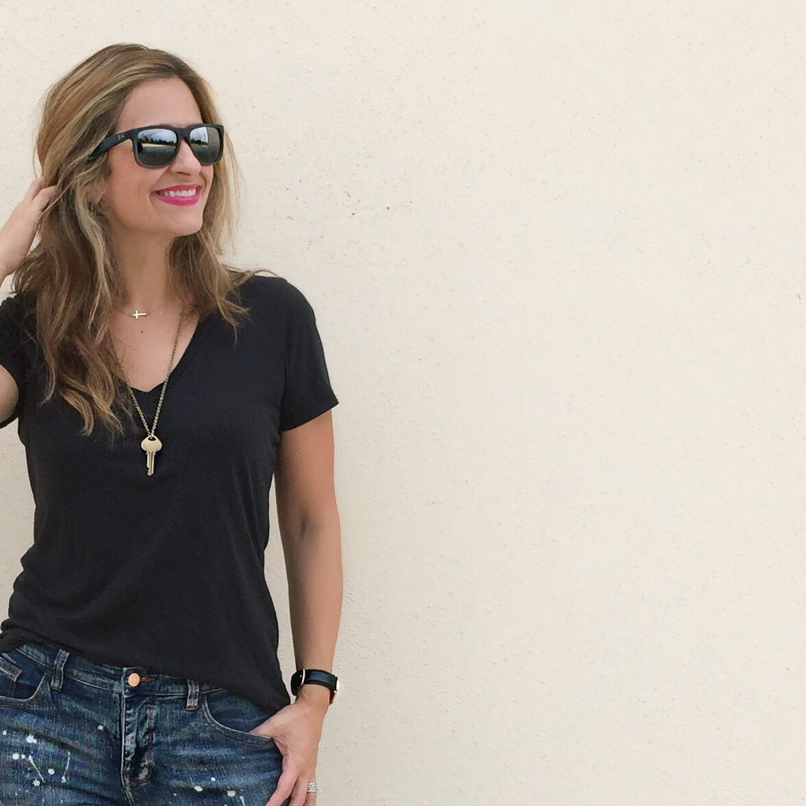 Everlane  black v-neck tee (not too low cut, cotton, great fit) and Jeans from  Target . Necklace:  The Giving Key  Sunglasses:  Ray-Ban