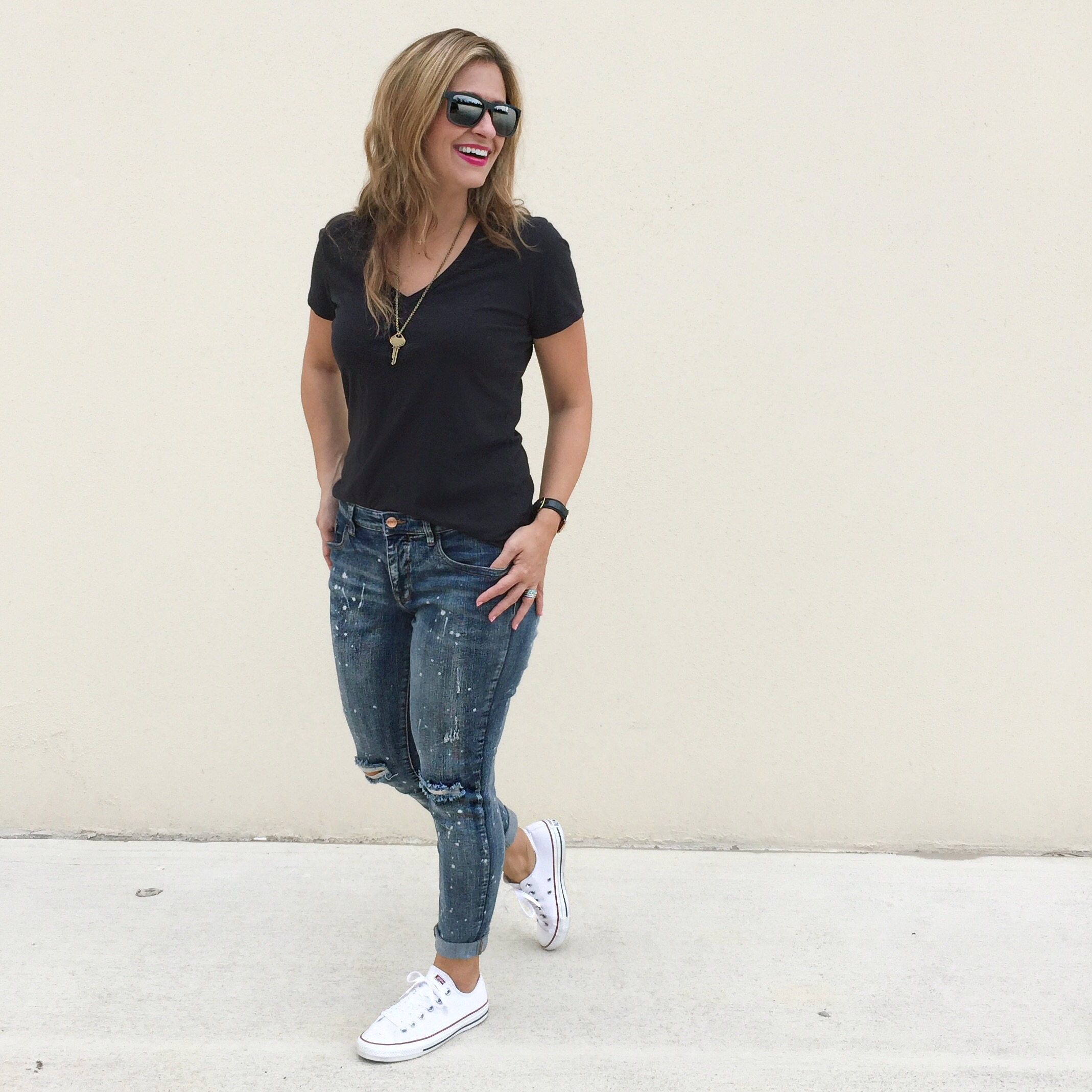 Tee:  Everlane  Jeans:  Target  Shoes:  Converse  Necklace:  The Giving Key  Sunglasses:  Ray-Ban