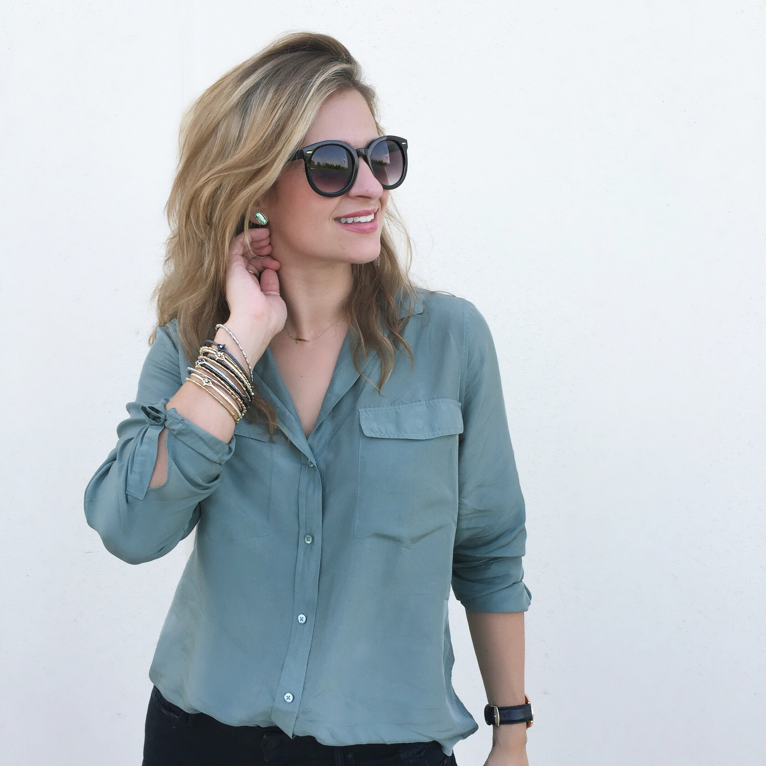 Silk button-up:  Everlane  Bracelets:  Kendra Scott  Sunglasses: Nordstrom