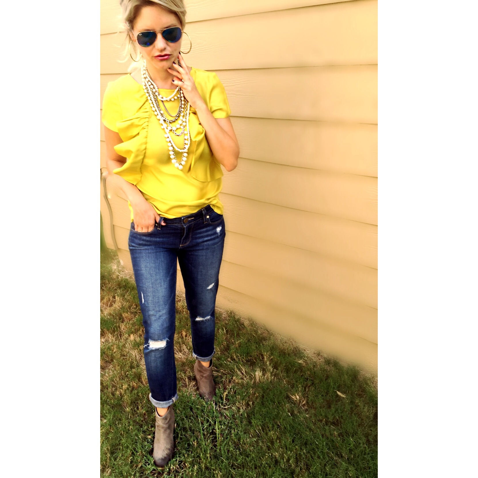 Jeans: Paige Ultra Skinny  here  Top: Ann Taylor old, similar  here  Necklace: Ann Taylor old, similar  here  Booties: BP  here