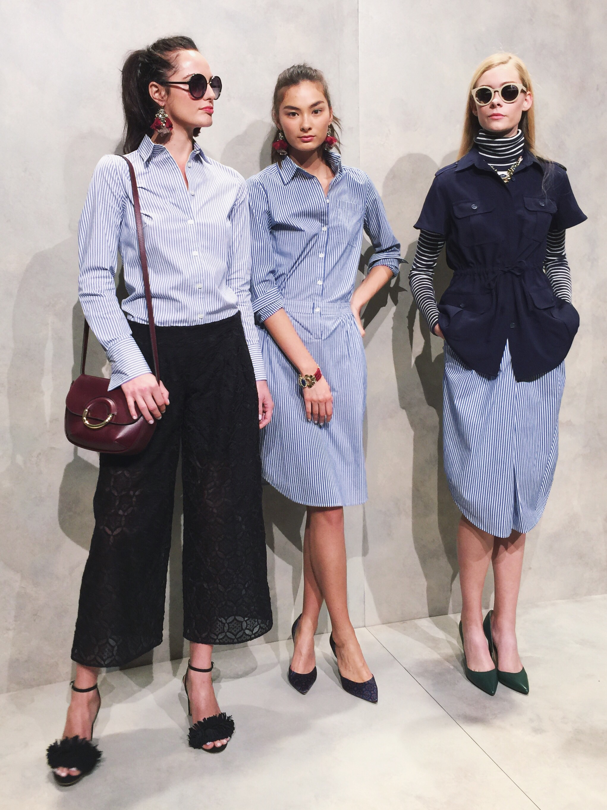 Classic shades of blue, stripes, forest green, and culottes.