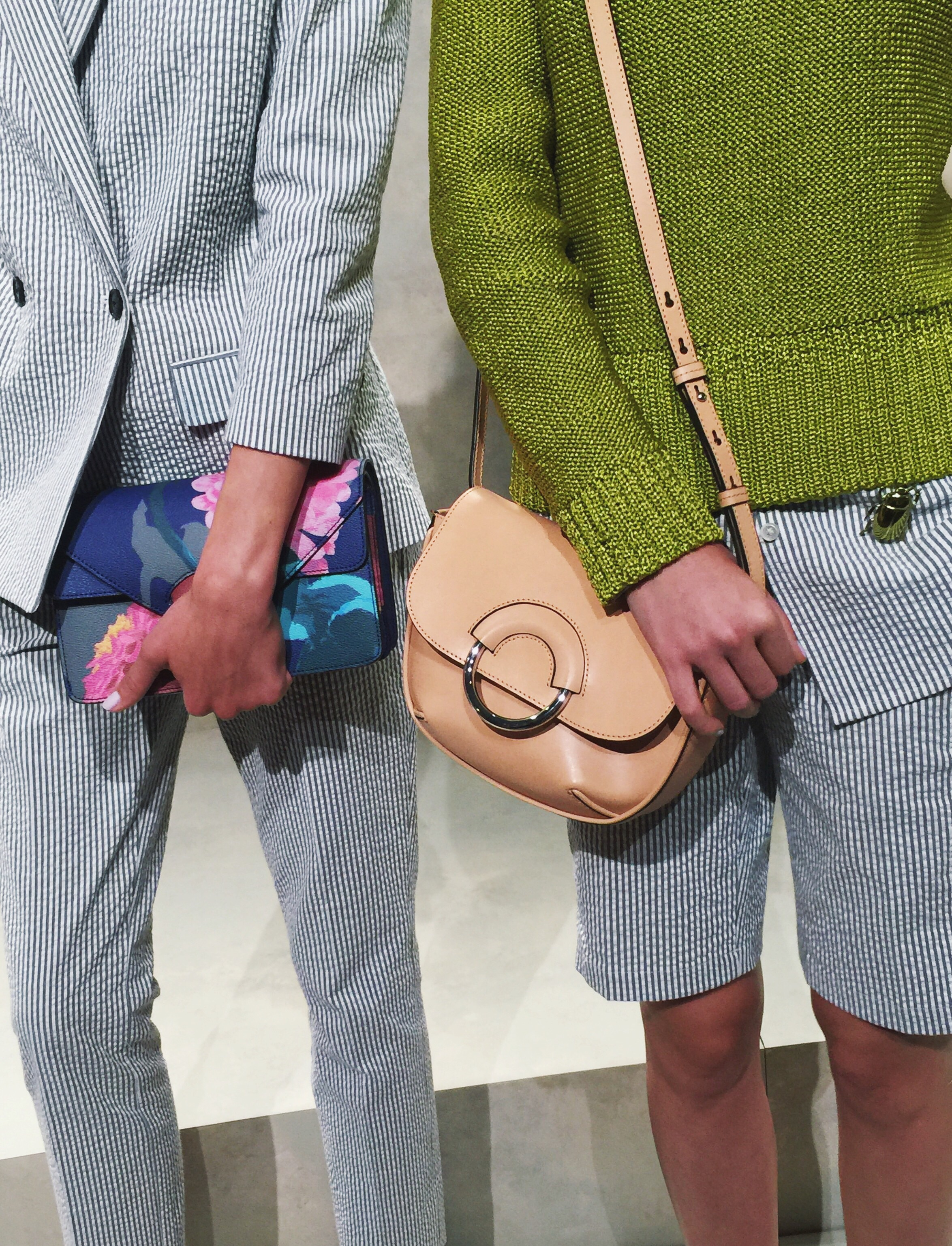 Seersucker (for both men & women), crossbody bags and patterned clutches.