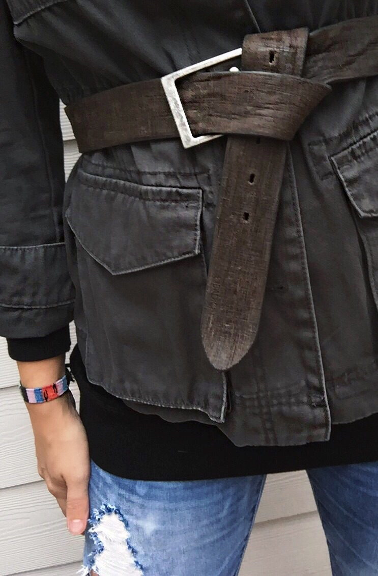 Belt:  Badichi other options  here  and  here  Jacket: Old Navy old similar  here  Sweater:  Everlane  Jeans:  BlankNYC