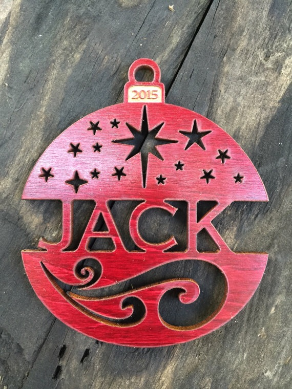 Black Tag Studio  personalized custom wood Christmas ornament: starry night design (photo from Black Tag Studio's Etsy store)