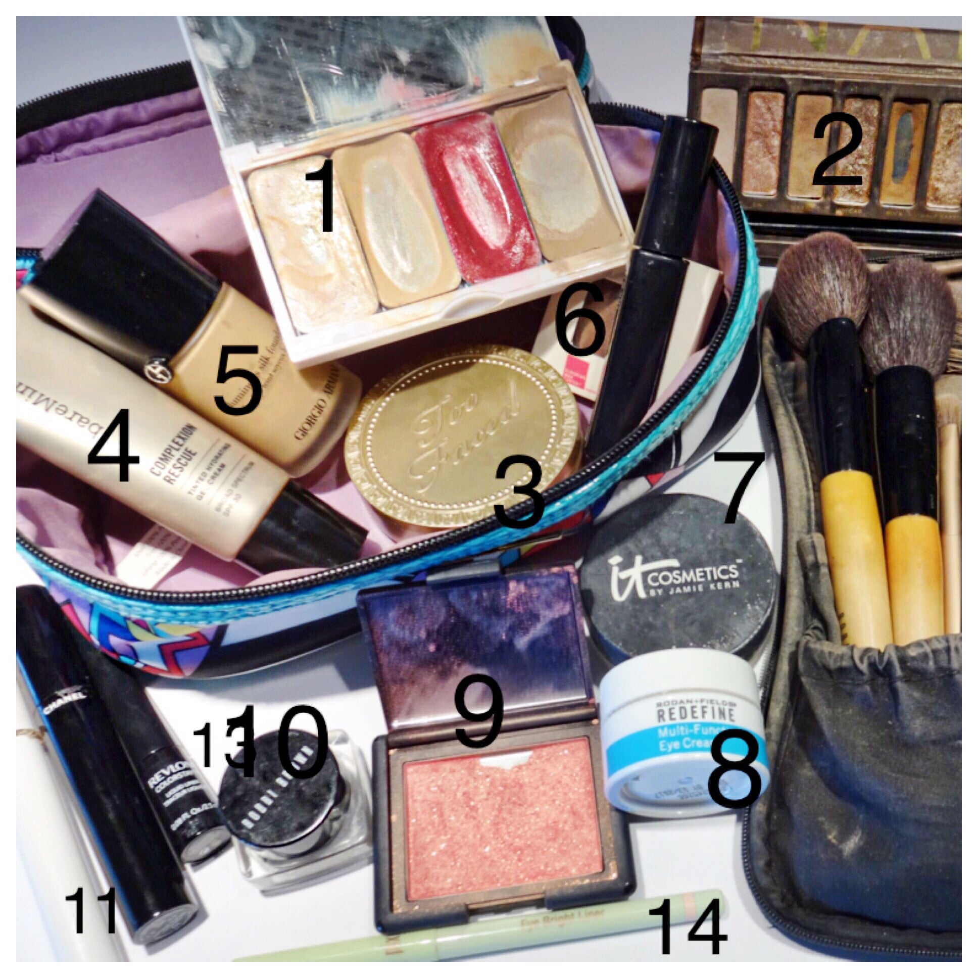 1)  111D Foundation  2)  Urban Decay  3)  Too Faced Bronzer  4)  Complexion Rescue  5)  Armani Foundation  6) Brow Drama  7)  Bye Bye Pores  8)  Redefine Eye Cream  9)  NARS Blush  10)  Shadow Primer  11)  Lancome Booste r 12) Forgot to number it but its  Chanel Mascara  13)  Revlon liner  14) Pixi Eye Bright