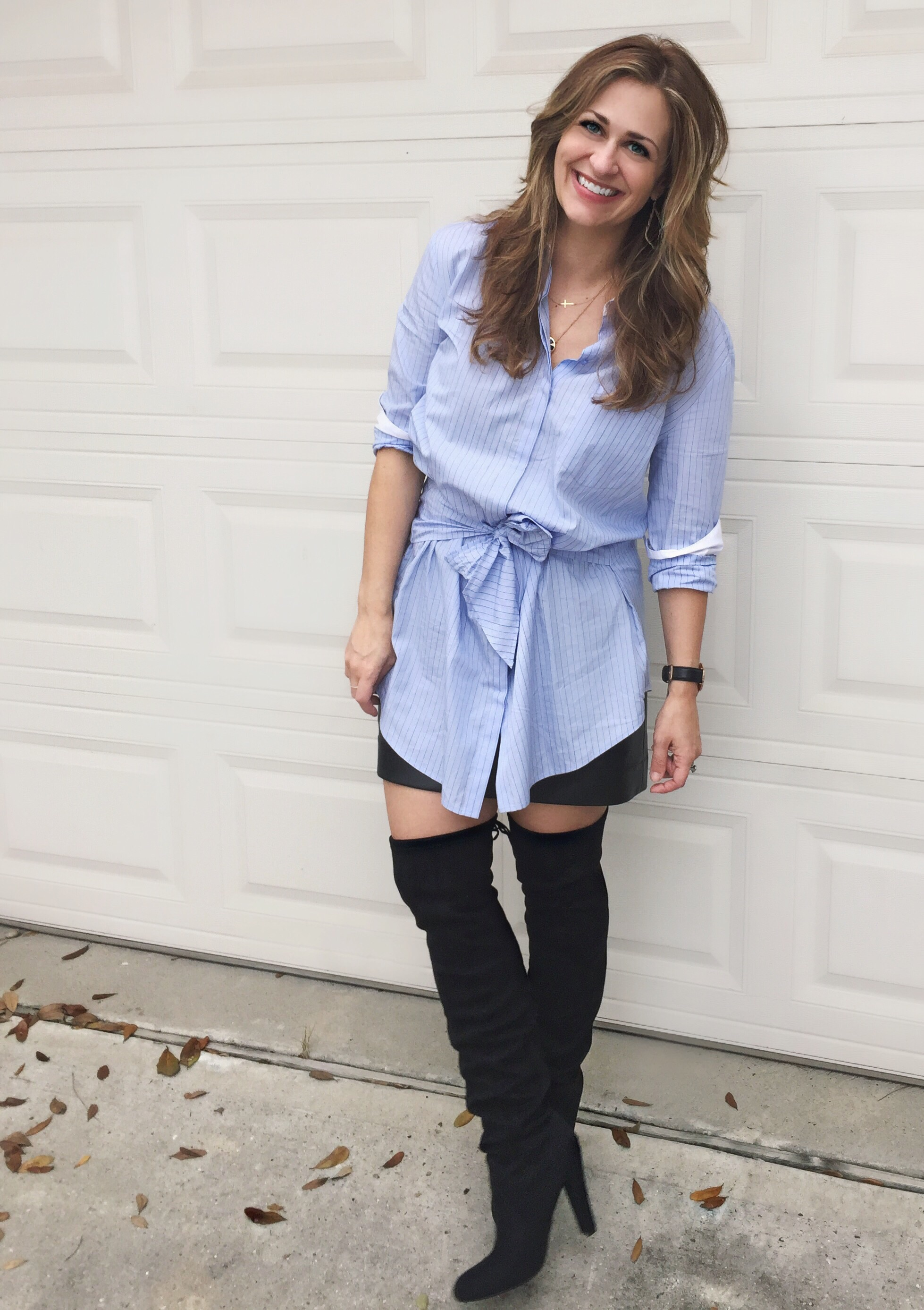 Date night in  over the knee boots  by Steve Madden,  Trouve shirt dress , and Loft faux leather mini (old but similar  here )