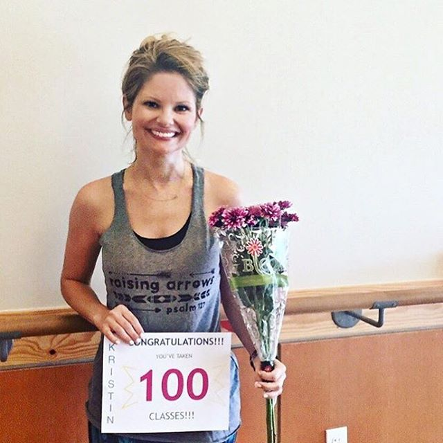 Who gives flowers and a sign on your 100th class!?! @barre3austincirclec does, that's who! So sweet, so awesome, and so sweaty!! Love this place!! #barre #barre3 #fitmom #girlpower