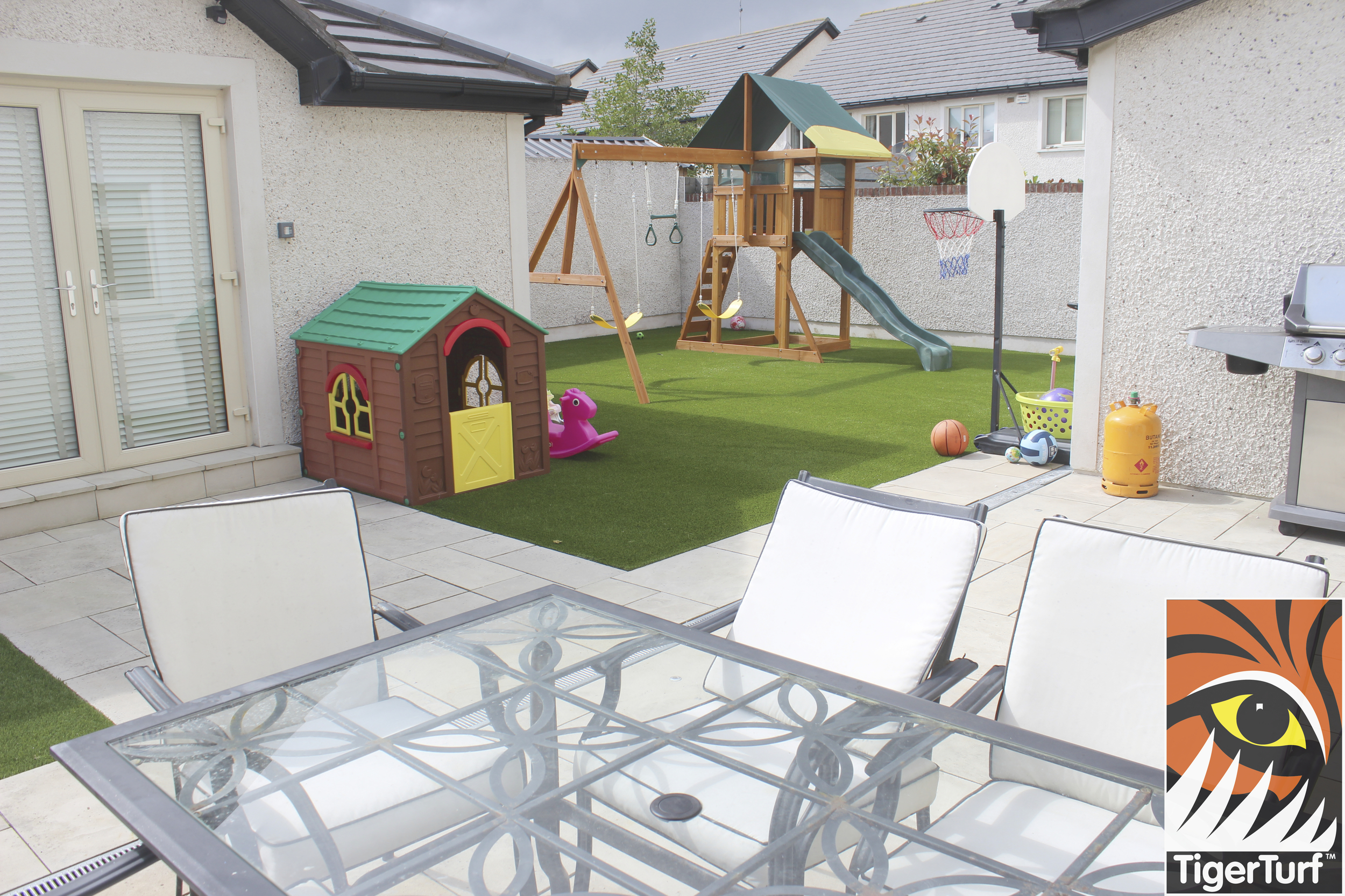 outdoor garden set in front of new lawn