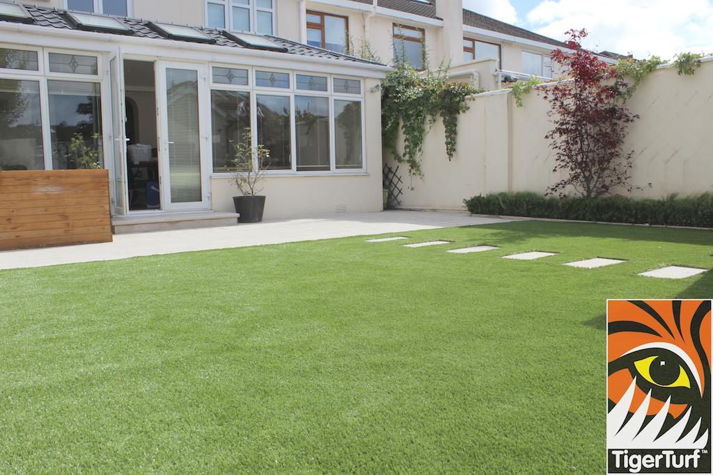 Garden landscape with fake grass