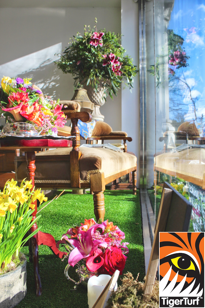 TigerTurf synthetic Grass in shop window