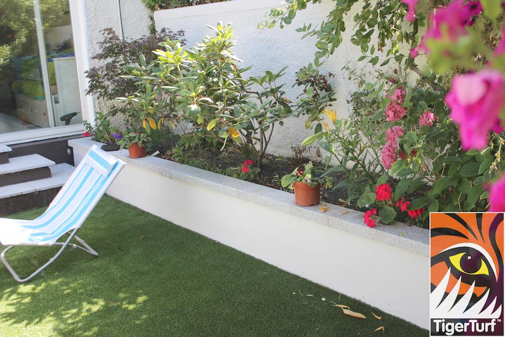 sunny garden with deck chair