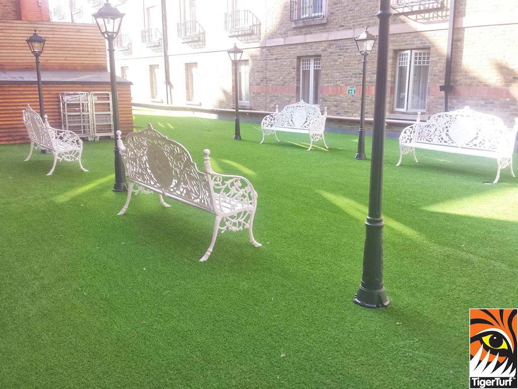 4 benches and artificial grass