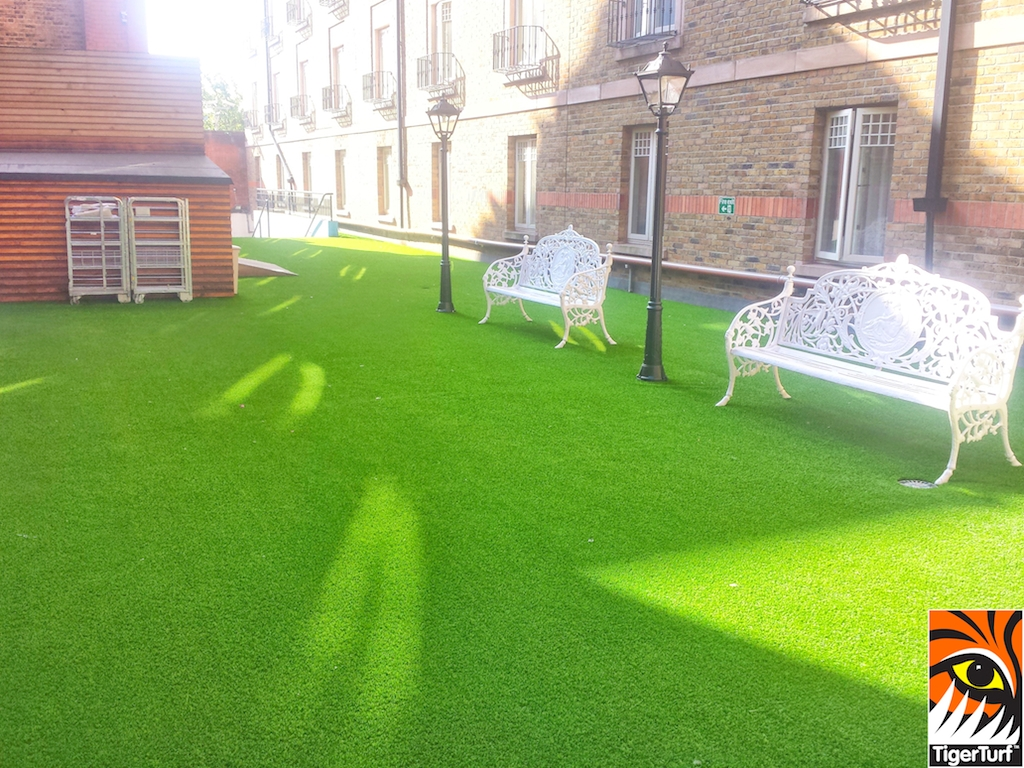 synthetic grass in courtyard