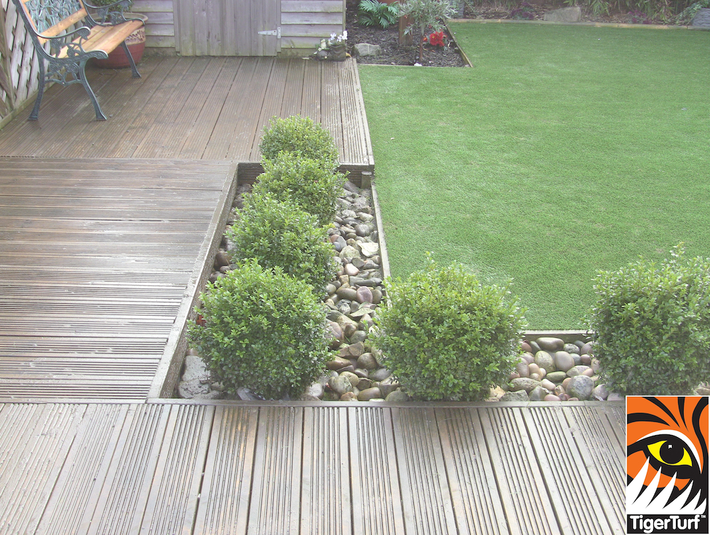 square deck and grass