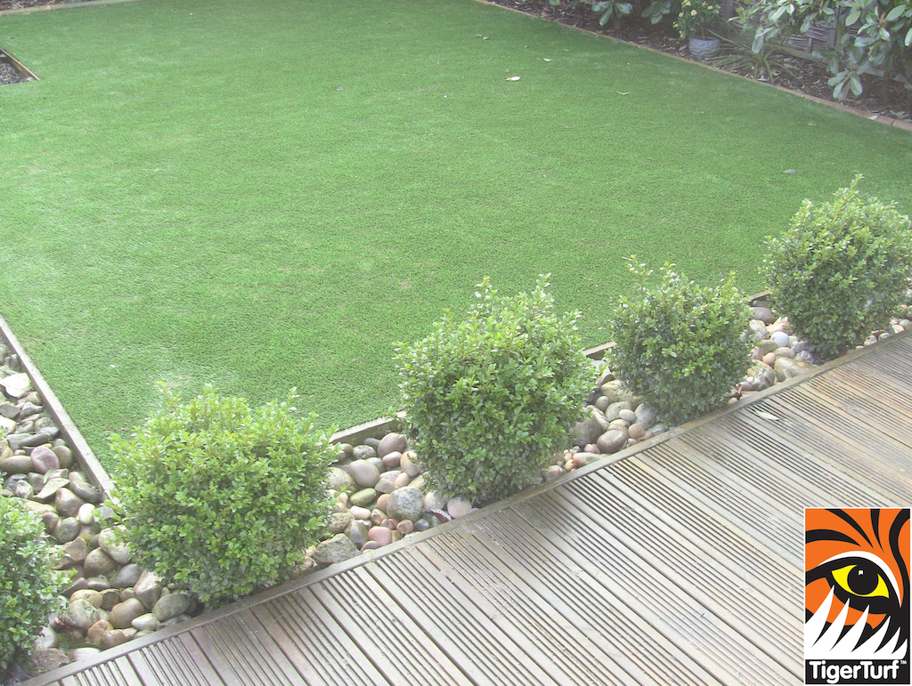 decking and lowered lawn