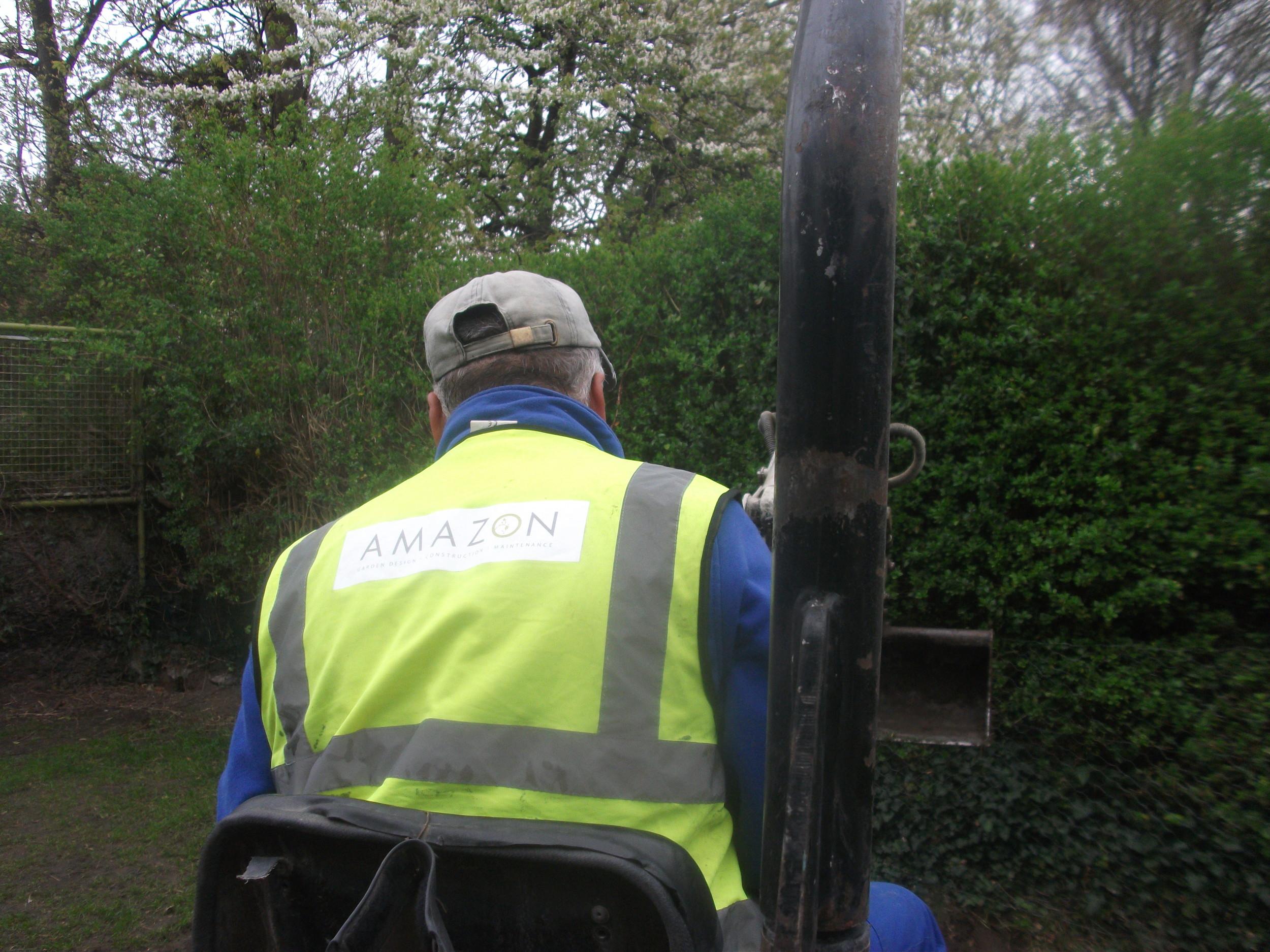 installer excavating topsoil