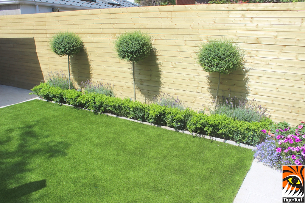 formal planting with artificial lawn