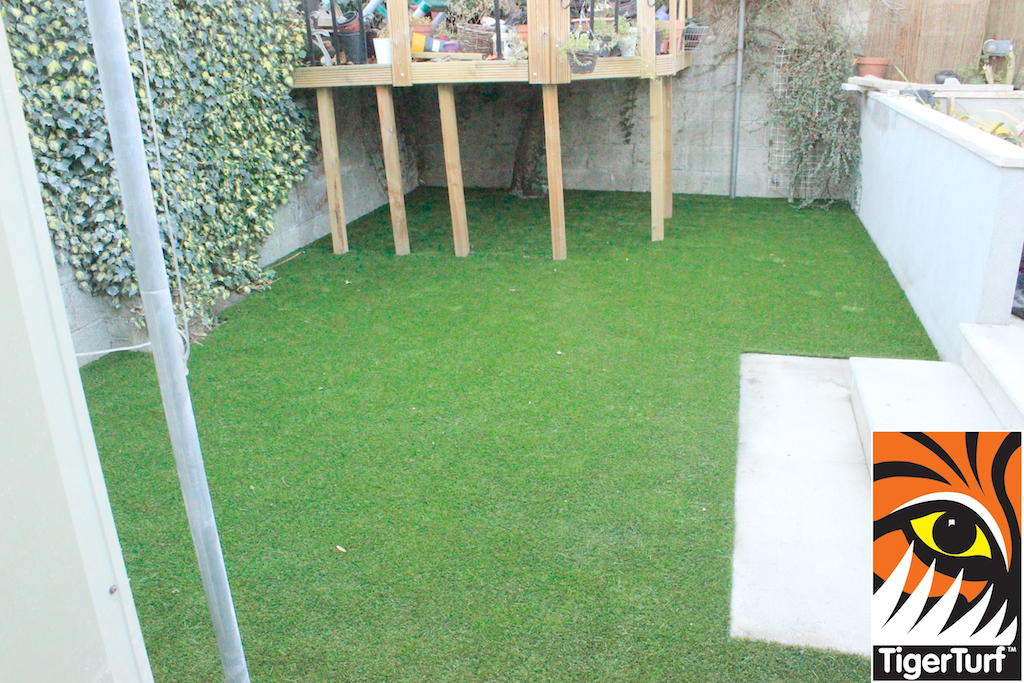 synthetic grass and ivy in garden