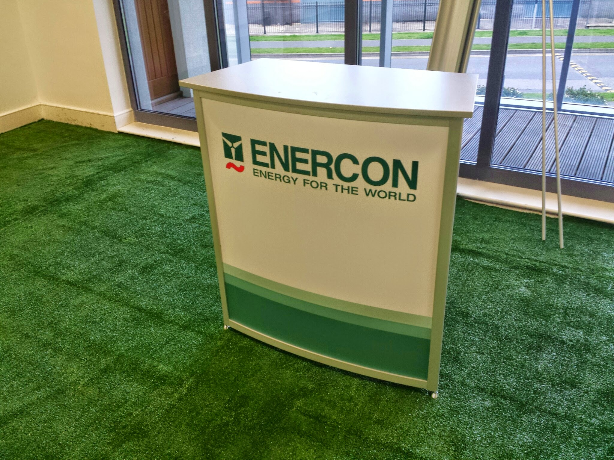 synthetic grass at event stand