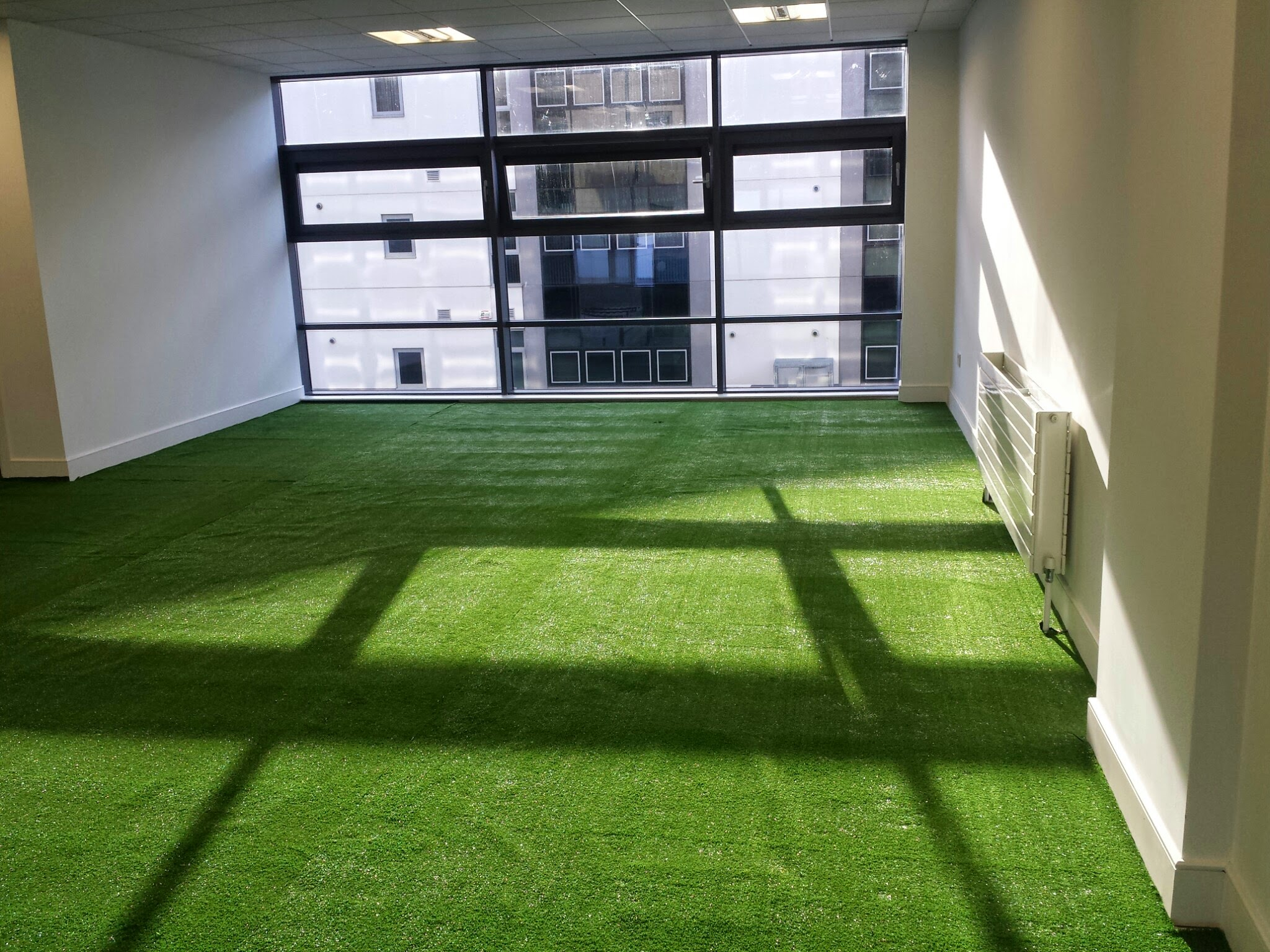 press room in TigerTurf synthetic grass