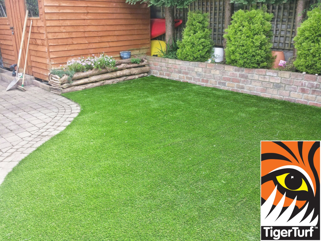 TigerTurf lawn installed in suburban garden