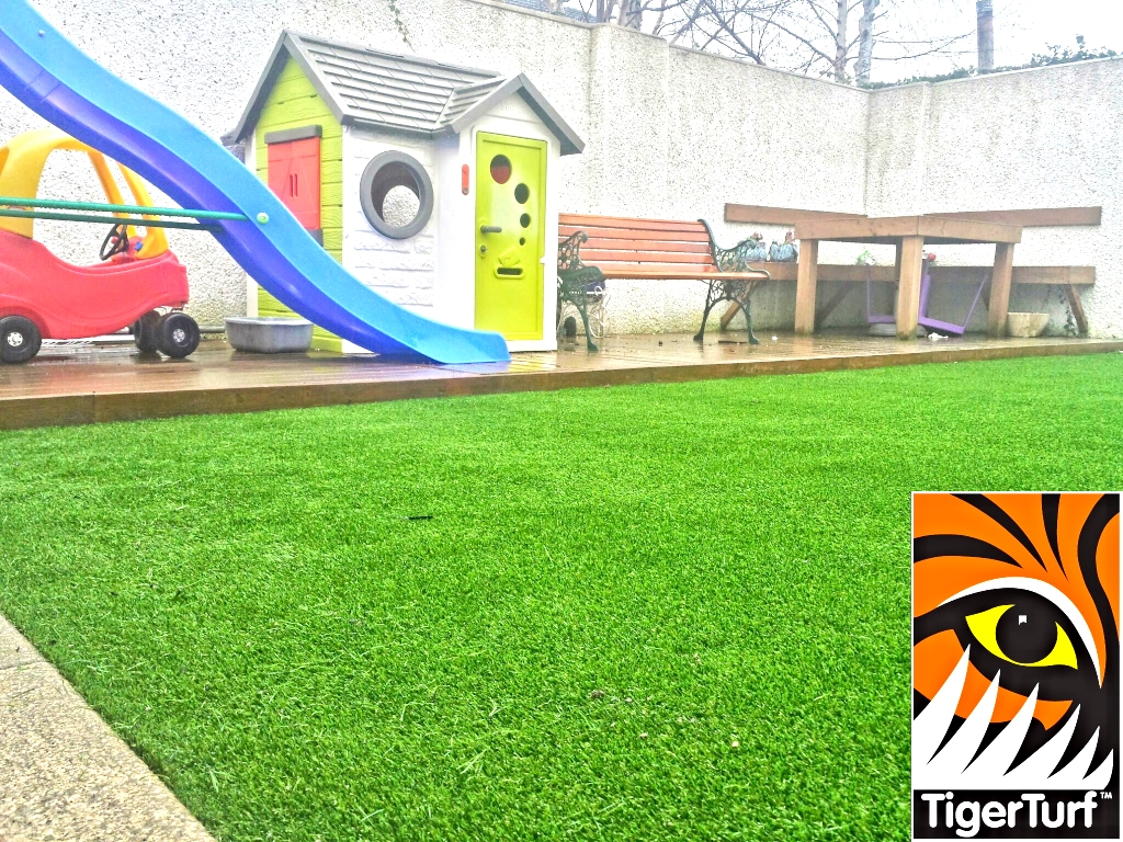 playhouse decking and grass