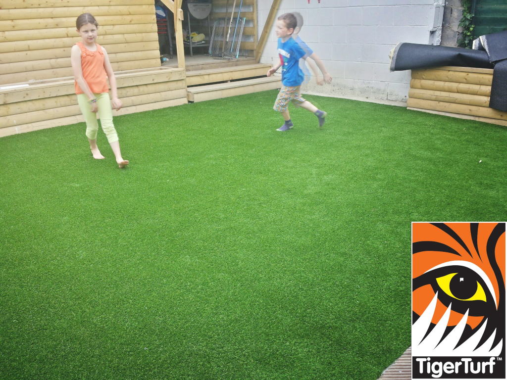 kids running in circles on new lawn