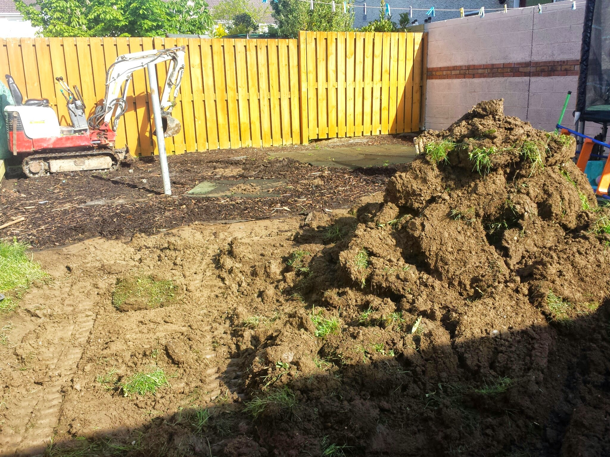 digging out back garden lawn