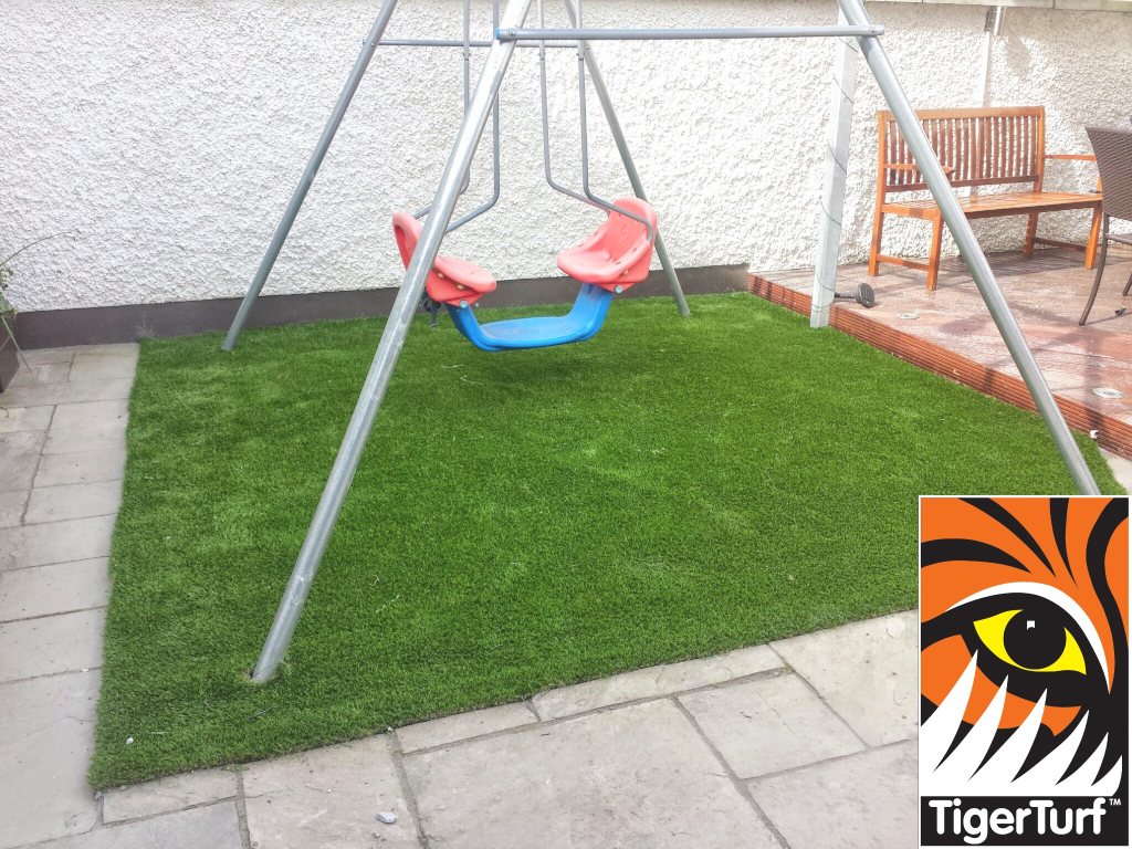 swing set with new grass
