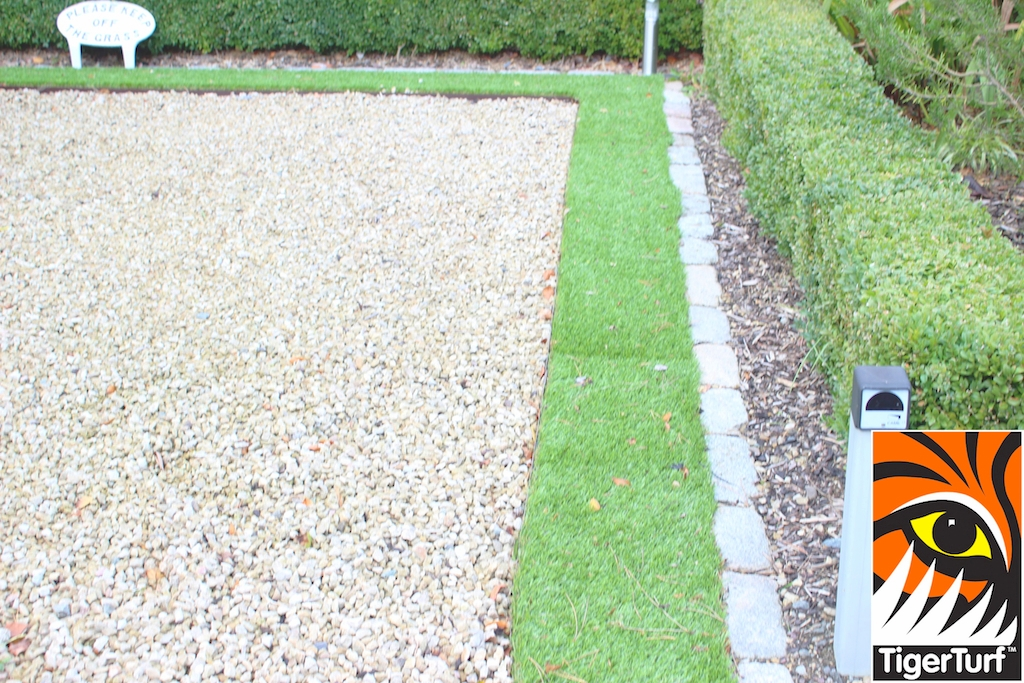 synthetic grass edging on Driveway