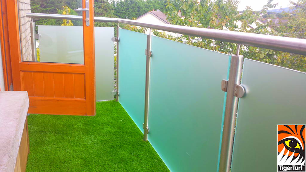 Synthetic grass on apartment balcony
