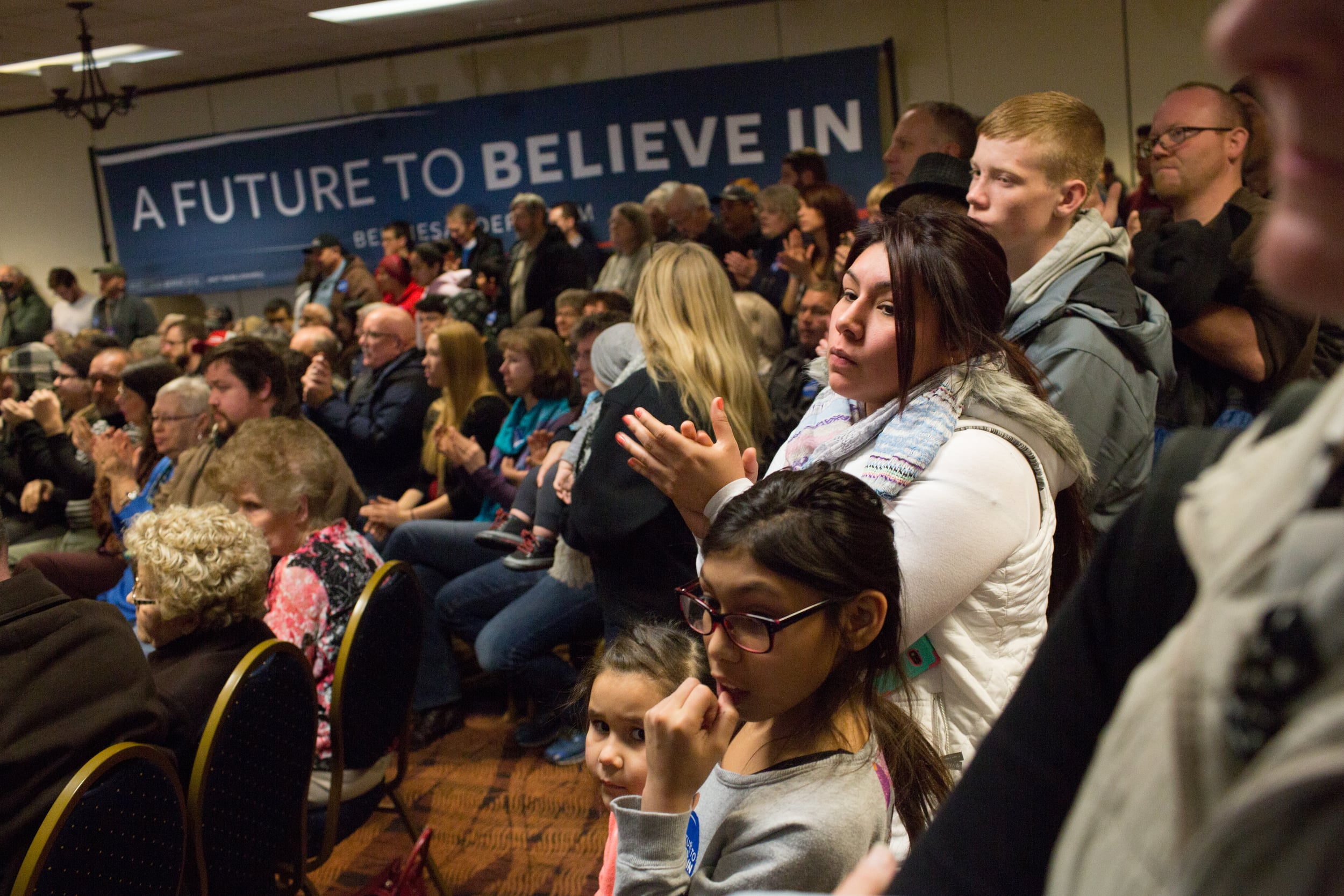 Maria Perez of Marshalltown, Iowa attends a rally for Democratic presidential candidate Bernie Sanders in her town on Sunday. Photograph: John Richard for the Guardian