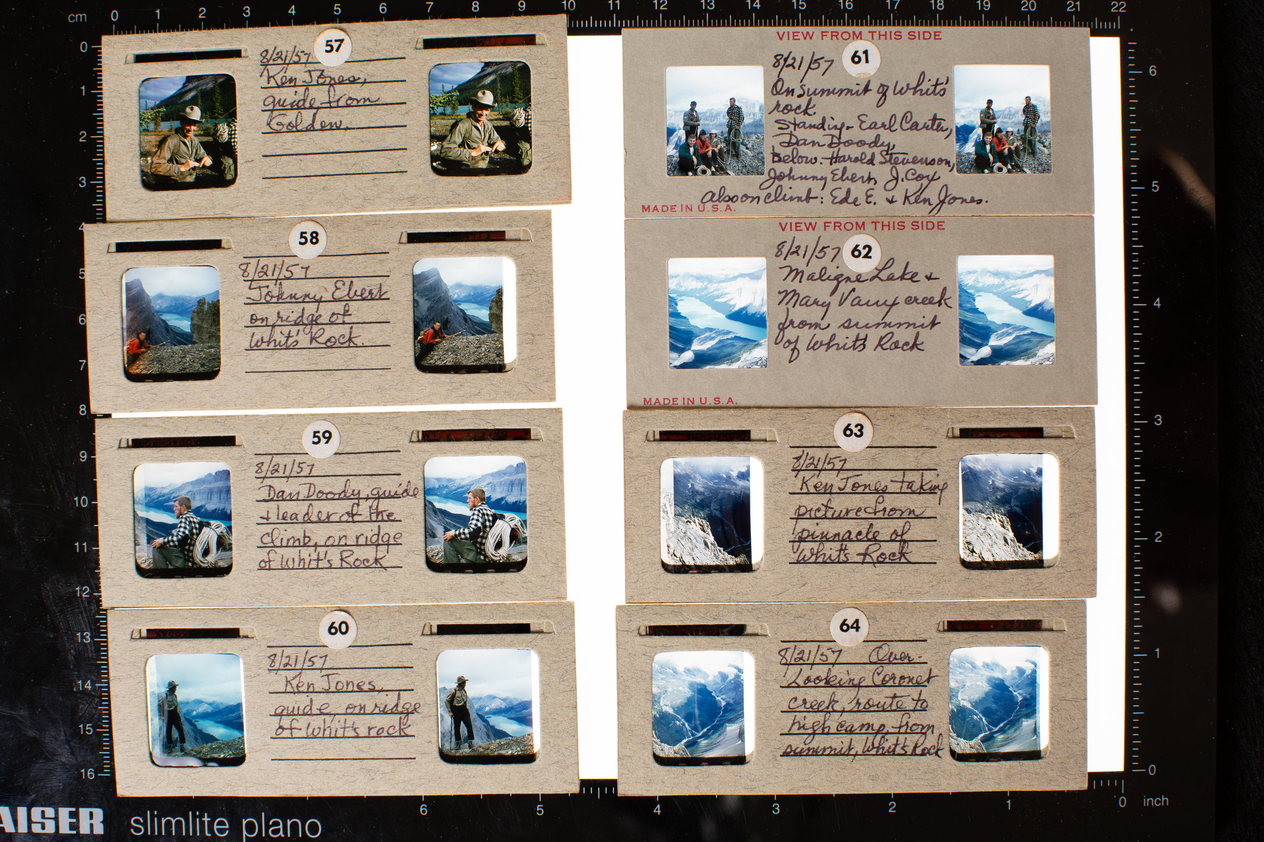 Stereo slides from the collection of Joan Cox from the Maligne Lake expedition in 1957. Includes Ken Jones, a Canadian guide who was deaf, as well as  Dan Doody  who would be a member of the first successful American expedition to Mount Everest.