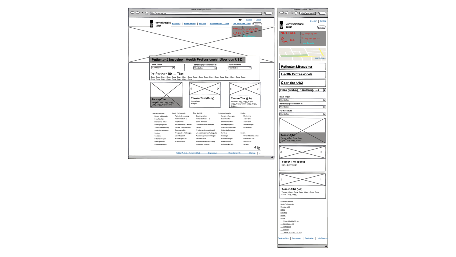 low-fi wireframes (balsamique) – desktop/mobile – these low-fi wireframes were meant to provided the UI designers with the necessary structure to explore visual executions of the homepage for the pitch – the visual requirements for the pitch did not go much beyond