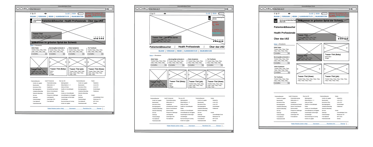 low-fi wireframes (balsamique) – alt versions  – these low-fi wireframes provided the UI designers with the necessary structure to explore visual executions of the homepage for the pitch – the visual requirements for the pitch did not go much beyond