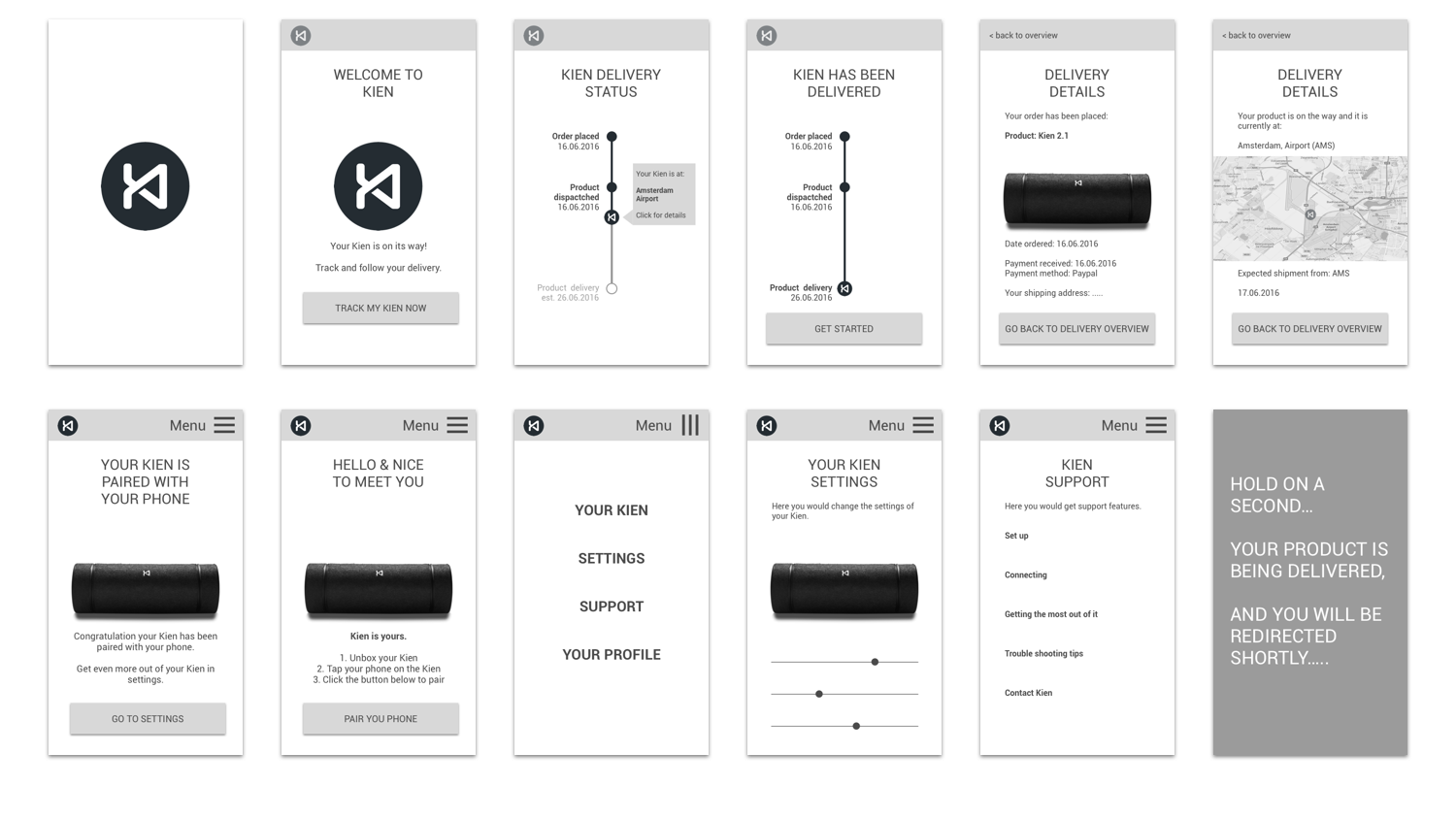 Digital mid fidelity wireframes (sketch) / prototype (invision)