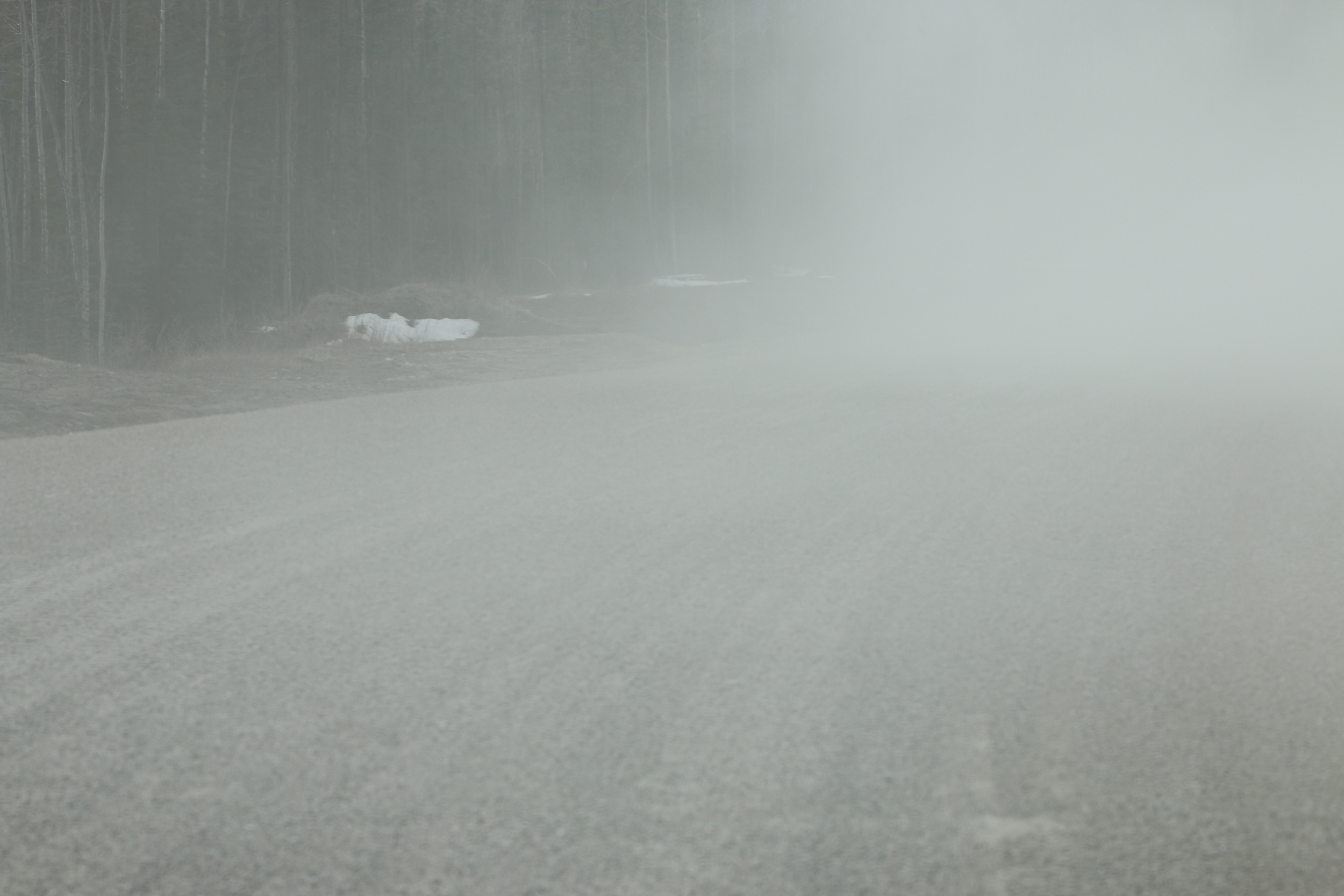 Adverse driving conditions on the Alaska Hwy