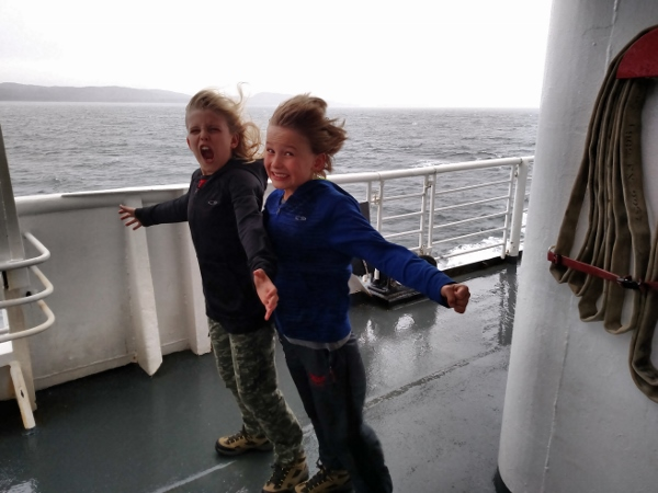 Rhys and Dylan on the ferry to Juneau - before they were blown over.