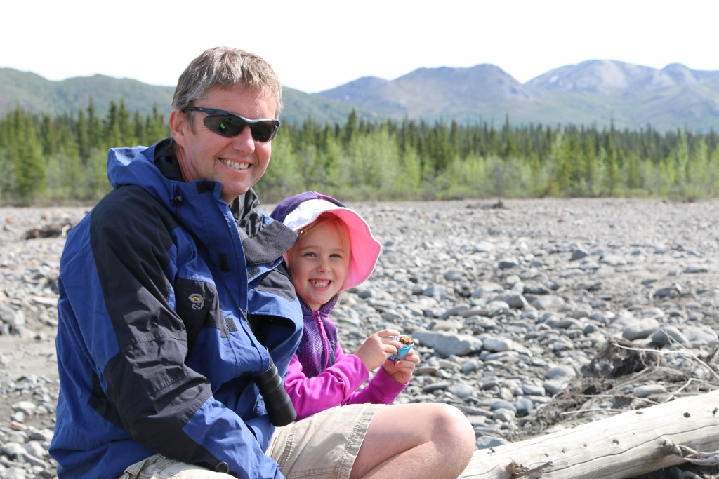 Relaxing on our hike on the Teklanika River Valley
