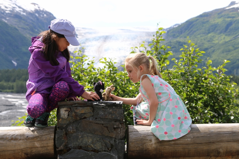 Clarisse and Anwen: Exit Glacier in background