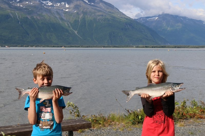 Dylan And Rhys with their Pink Salmon
