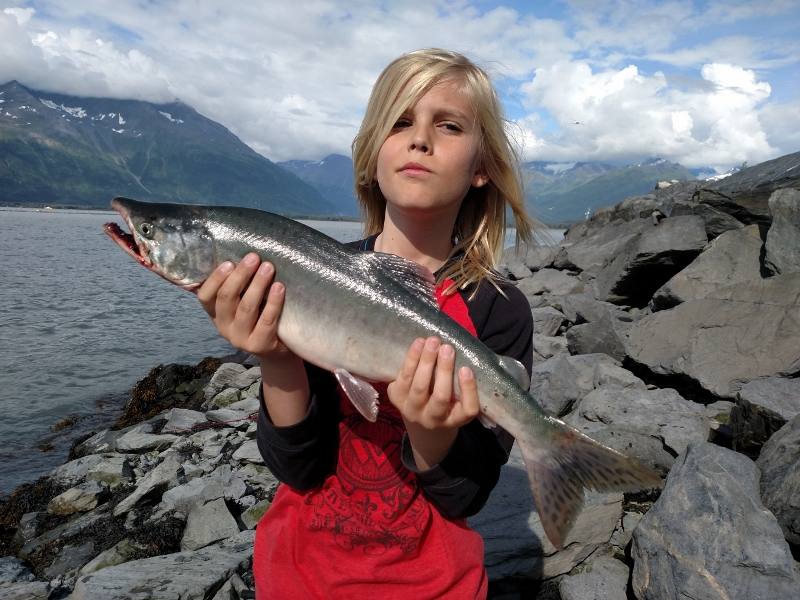 Rhys with his pink salmon