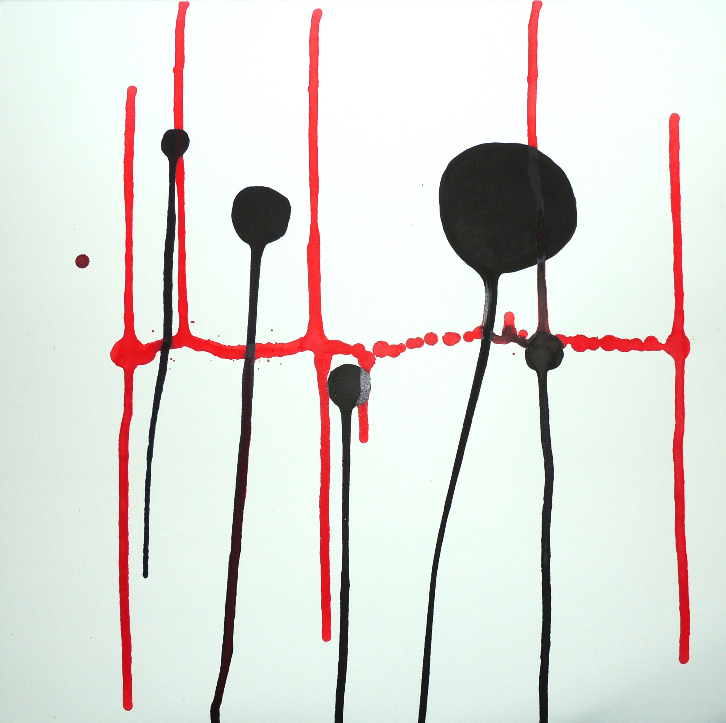 Oxygen-  India ink on paper,  12 x 12 inch,  2012.