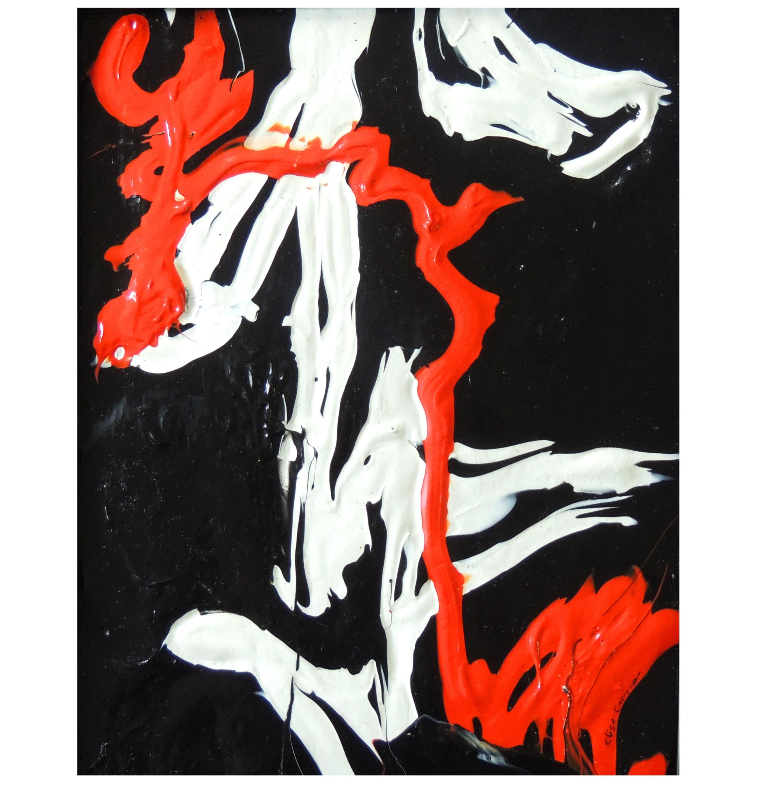 Rojo-   Acrylic on cardboard,  12 x 9 inch,  2012.