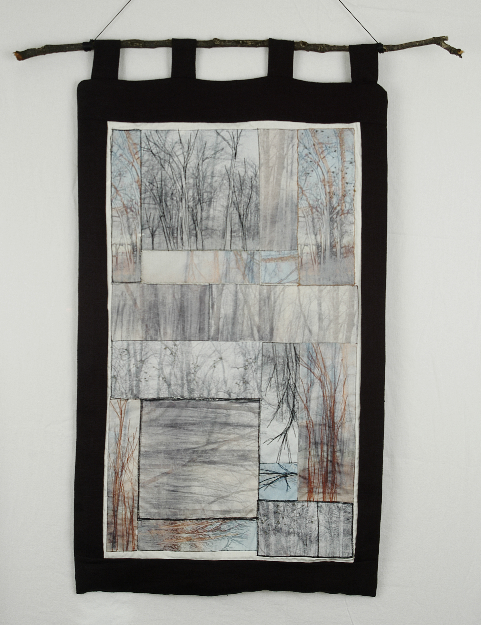 "Wildwood,  MaryLea Harris, Emulsion Transfers on Cotton, Linen, 36"" x 20""    Machine Stitching, Hand Embroidery, Beading, Branch"