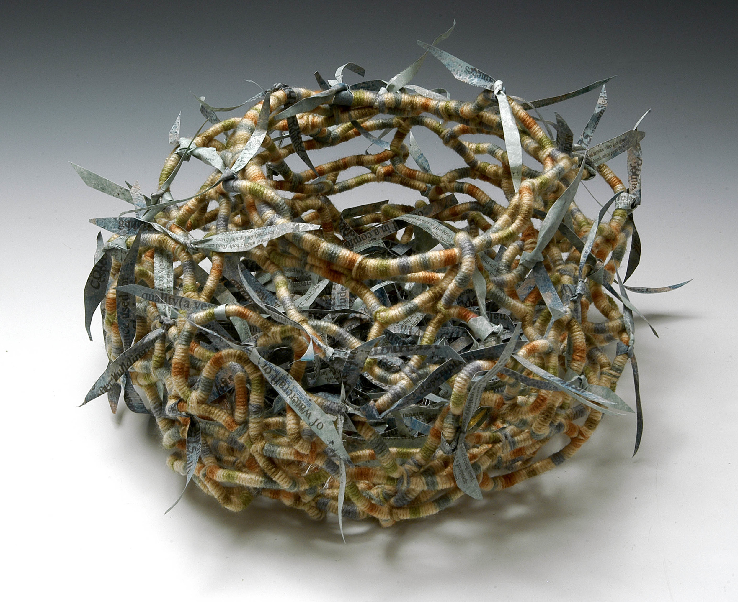 "Nest  , MaryLea Harris, Sculptural Book with Yarn and Altered Tyvek, 8 "" x 12"""
