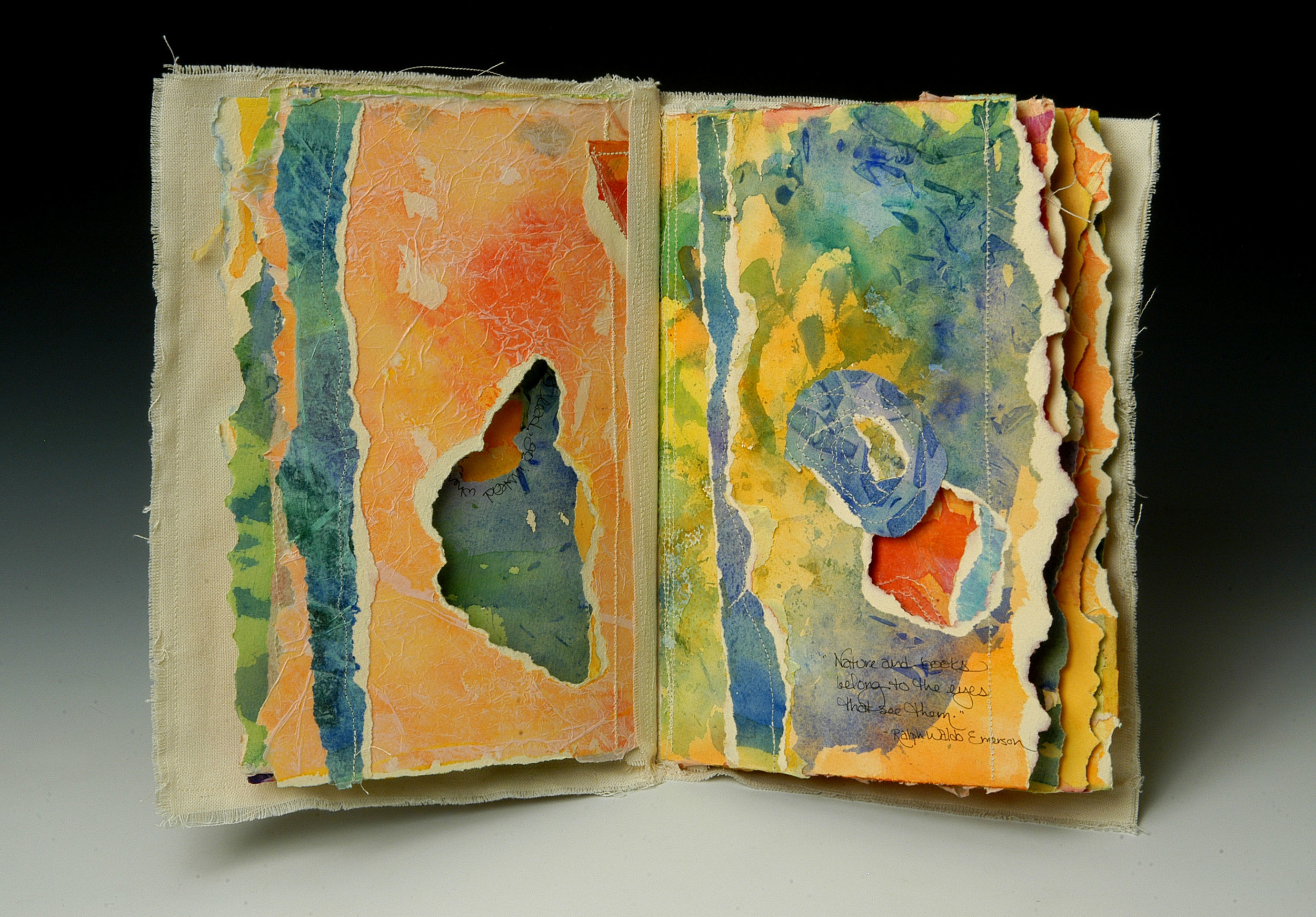 Mixed Media Book of Quotes , MaryLea Harris, 2006   Watercolor paper, machine stitching, ink, canvas