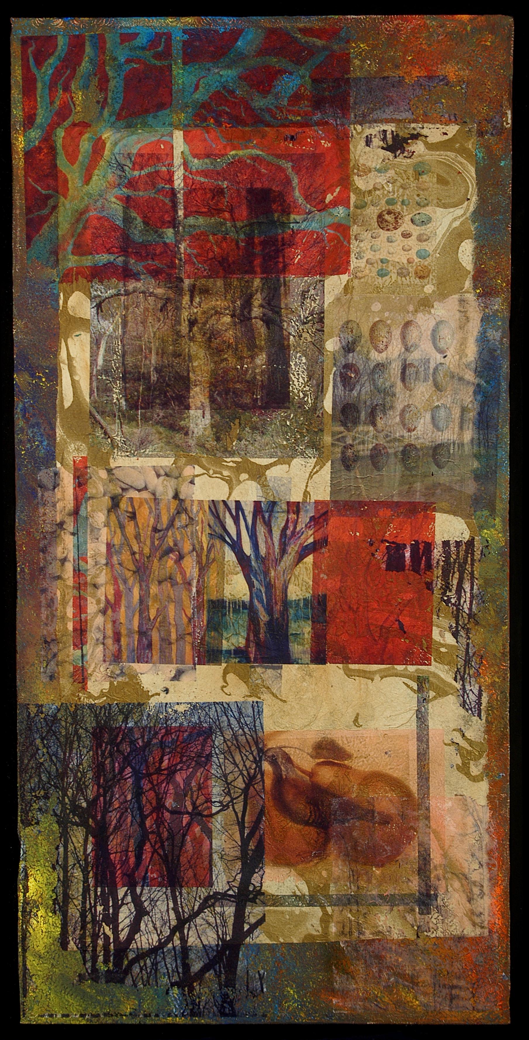 "The Journey Home  , MaryLea Harris, Mixed-Media on Canvas, 15"" x 30"""
